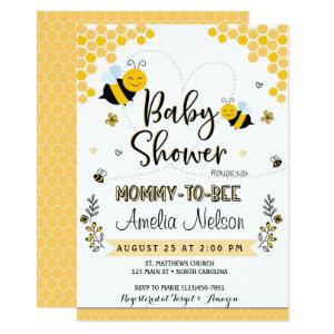 Mom To Bee Baby Shower Invitation Yellow Neutral