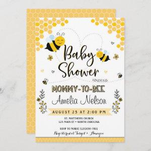 Mom To Bee Baby Shower  Yellow Neutral