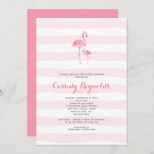 Mommy and baby girl Flamingo Baby Shower Invitation