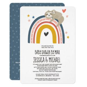 Mommy and Baby Sloth Rainbow | Baby Shower by Mail Invitation