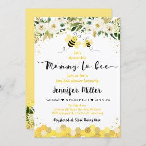 Mommy to Bee Gold Gender Neutral Baby Shower Invitation