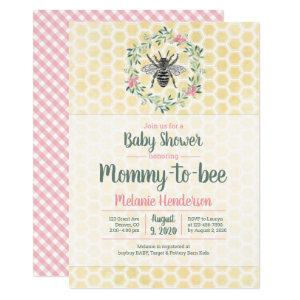 Mommy to bee, honeycomb, gingham, girl baby shower invitation