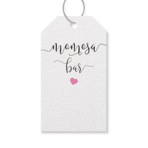 Momosa bottle tag for baby shower with cute heart