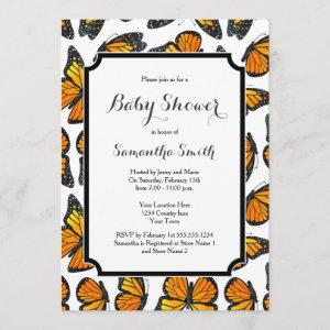 Monarch Butterfly Baby Shower Invitation