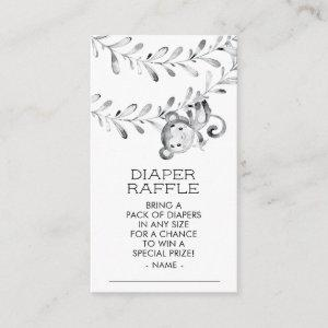 Monkey Neutral Baby Shower Diaper Raffle Ticket Enclosure Card