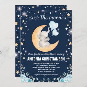 Moon Baby Shower / Twinkle Star Elephant Baby Boy Invitation