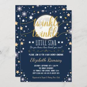 Moon & Stars Baby Shower Navy Gold Twinkle Twinkle Invitation