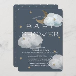 Moon, Stars & Clouds Navy Baby Shower Invitation