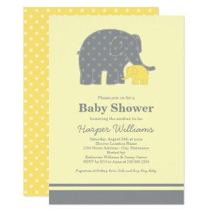 Mother and Baby Elephant Shower Yellow and Gray Invitation