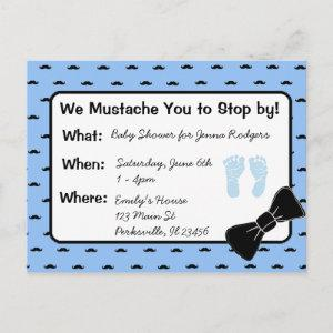 Mustache and Bow tie Baby Shower Invitation
