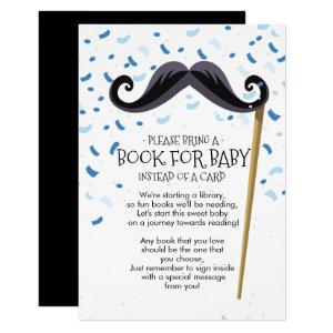 Mustache Baby Shower Book for Baby Card