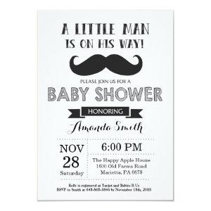 Mustache Baby Shower Invitation Black and Gray