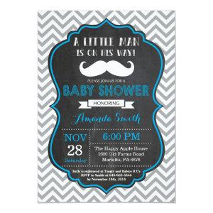 Mustache Baby Shower Invitation Blue and Gray