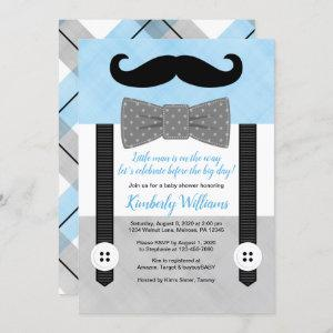 Mustache baby shower invitation blue little man
