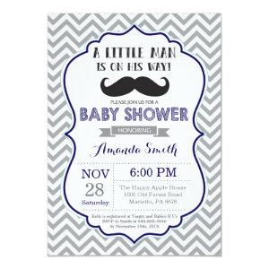 Mustache Baby Shower Invitation Navy Blue and Gray