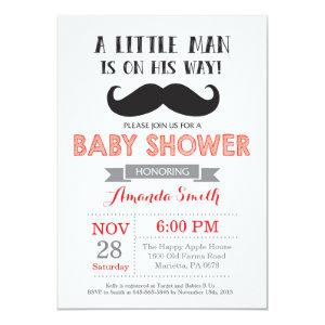 Mustache Baby Shower Invitation Red and Gray