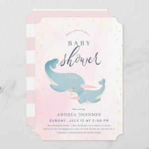 Narwhals Watercolor Pink Girl Baby Shower