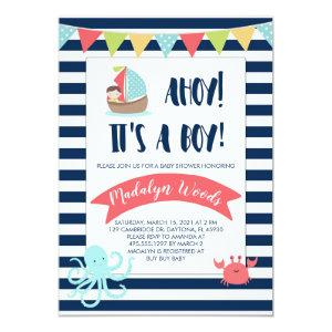 Nautical Ahoy! It's a Boy! Baby Shower Invitation