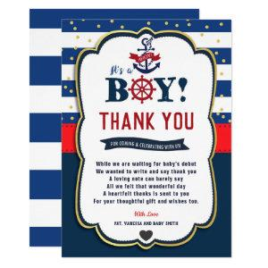 Nautical Ahoy Red Navy Baby Shower Thank You Card