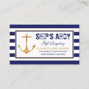 Nautical Anchor Baby Shower Gift Registry Enclosure Card