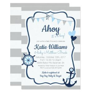 Nautical Anchor Blue Boy Baby Shower Invitation