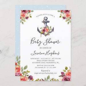 Nautical Anchor Floral Boy Baby Shower Invitation