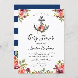 Nautical Anchor Floral Navy Stripes Baby Shower