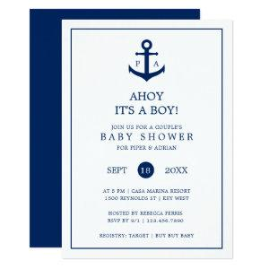 Nautical Anchor Monogram Boy Couples Baby Shower Invitation