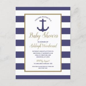 Nautical Anchor Navy Blue Striped Boy Baby Shower Invitation Postcard