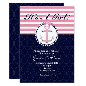 Nautical Anchor Pink & Blue Baby Shower Invitation