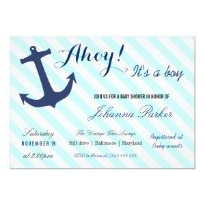 Nautical Anchor Stripes Its A Boy Baby Shower Invitation