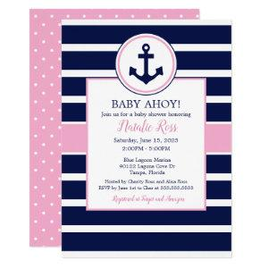 Nautical Anchor Summer Ahoy! Girl Baby Shower Invitation