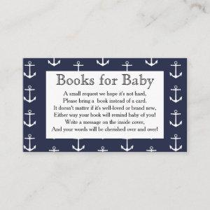 Nautical Anchors & Whale Baby Shower Book Request Enclosure Card