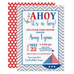 Nautical Baby Shower Invitation Ahoy Its A Boy