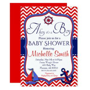 Nautical Baby Shower Invitation, Ahoy it's a Boy Invitation