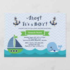 Nautical Baby Shower  Navy Gree and Blue