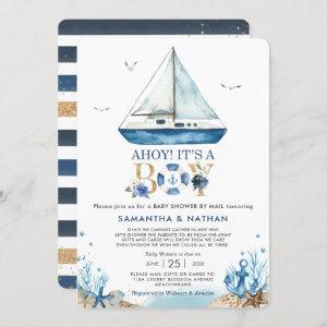 Nautical Boat Ahoy It's a Boy Baby Shower by Mail Invitation