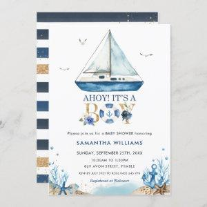 Nautical Boat Ahoy It's a Boy Baby Shower Invitation