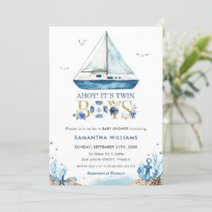 Nautical Boat Ahoy It's Twin Boys Baby Shower