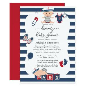 Nautical Boy Drive By Baby Shower Invitation