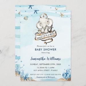 Nautical Elephant Ahoy It's a Boy Baby Shower Invitation