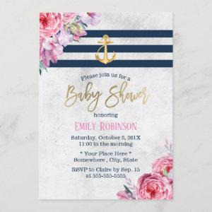 Nautical Gold Anchor Vintage Floral Baby Shower Invitation