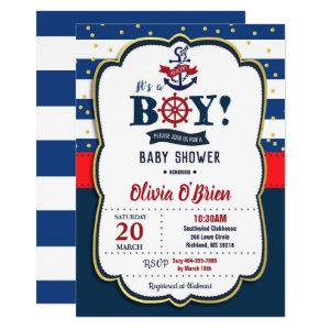 Nautical It's a Boy Red and Navy Blue Baby Shower Invitation