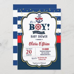 Nautical It's a Boy Red and Navy Blue Baby Shower