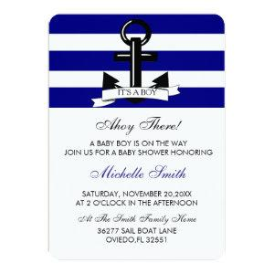 Nautical Navy Baby Boy Shower Invitation