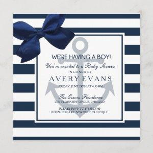 Nautical Navy Ribbon Anchor It's a Boy Baby Shower Invitation