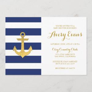 Nautical Navy Stripe Baby Shower with Gold Anchor Invitation