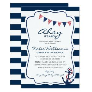 Nautical Red White Blue Anchor Boy Baby Shower Invitation
