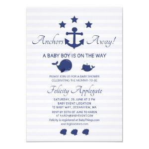 Nautical Whale Achors Away Blue Boy Baby Shower Invitation