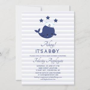 Nautical Whale Ahoy Its A Boy Baby Shower